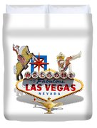 Las Vegas Symbolic Sign On White Duvet Cover