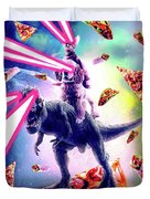 Laser Eyes Space Cat Riding Dog And Dinosaur Duvet Cover