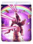 Laser Eyes Space Cat Riding Sloth, Dog - Rainbow Duvet Cover