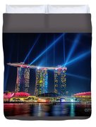 Laser Show At Mbs Singapore Duvet Cover by Yew Kwang