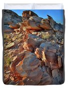 Last Sunlight On Jagged Sandstone In Valley Of Fire Duvet Cover