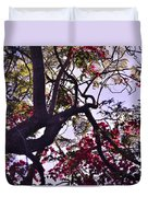 Late Afternoon Tree Silhouette With Bougainvilleas IIi Duvet Cover