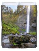 Latourell Falls Sunset Duvet Cover