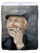 Laughing Old Man Duvet Cover