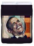 Laughing President Obama V2 Duvet Cover