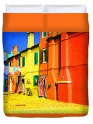 Laundry Between Chimneys Duvet Cover