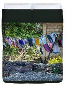 Laundry Drying In The Wind Duvet Cover