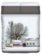 Laundry Drying In Winter Duvet Cover