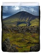 Lava Field And Mountain - Iceland Duvet Cover
