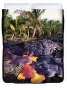 Lava Flow And Palms Duvet Cover