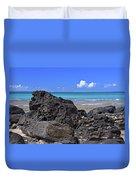 Lava Rocks At Haena Beach Duvet Cover