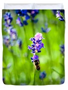 Lavander Flowers With Bee In Lavender Field Macro Artmif Duvet Cover