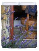 Lavender Blooming Near Stairway Duvet Cover