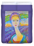 Lavender Lady Art Deco, Decorative Woman Painting, Woman Figure Print For Sale. Pretty Girl Canvas  Duvet Cover