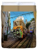 Lavra Funicular, Lisbon, Portugal Duvet Cover