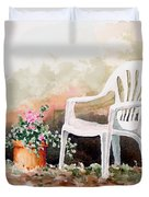 Lawn Chair With Flowers Duvet Cover