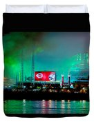 Laser Green Smoke And Reds Stadium Duvet Cover