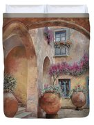 Le Arcate In Cortile Duvet Cover by Guido Borelli