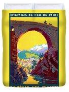 Le Ban, Pyrenees, France, Old Bridge Duvet Cover