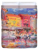 Le Port De St Tropez Duvet Cover by Peter Graham