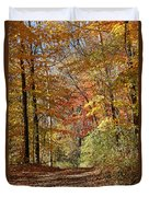 Leaf Covered Path Duvet Cover by Kathy DesJardins
