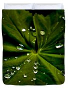Leaf Covered With Water Droplets Duvet Cover