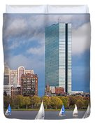 Lean Into It- Sailboats By The Hancock On The Charles River Boston Ma Duvet Cover