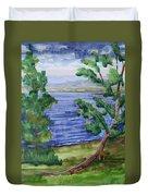 Leaning Tree By Lake Sacandaga Duvet Cover