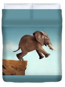Leap Of Faith Concept Elephant Jumping Into A Void Duvet Cover