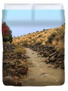 Learn To Swim, Creek Bed Quickly Filling With Water During Autumn Rainstorms In The High Desert Duvet Cover