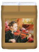 Learning The Violin Duvet Cover