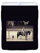 Learning To Ride Sepia Duvet Cover