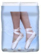 Learning To Walk In Dance World With Pink Pointe Shoes Duvet Cover