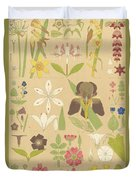 Leaves And Flowers From Nature Duvet Cover