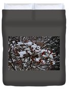 Leaves And Powery Snow Duvet Cover