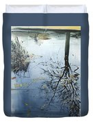 Leaves And Reeds On Tree Reflection Duvet Cover