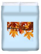 Leaves Autumn Orange Sunlit Fall Leaves Blue Sky Baslee Troutman Duvet Cover