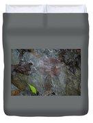 Leaves In Ice At Upper Creek Falls Duvet Cover