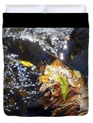 Leaves In River Duvet Cover