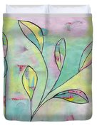 Leaves On Abstract Background Duvet Cover