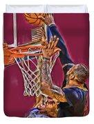Lebron James Cleveland Cavaliers Oil Art Duvet Cover