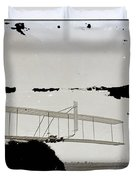 Left View Of Wilbur Gliding Kitty Hawk Lifesaving Station And Weather Bureau Buildings In Distance K Duvet Cover