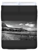 Legend Of The Bear Wyoming Devils Tower Panorama Bw Duvet Cover