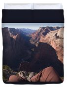 Legs Dangle Over The Cliff Looking Duvet Cover