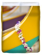 Lei Draped Over Outrigger Duvet Cover by Dana Edmunds - Printscapes