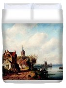 Leickert Charles A Village Along A River A Town In The Distance Duvet Cover