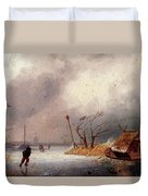 Leickert Charles A Winter Landscape With Skaters On A Frozen Waterway Duvet Cover