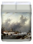 Leickert Charles Henri Joseph A Frozen Winter Landscape With Skaters Duvet Cover