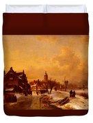 Leickert Charles Henri Joseph Winter And Summer Canal Scenes Scene  Duvet Cover