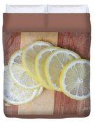 Lemon Slices On Cutting Board Duvet Cover